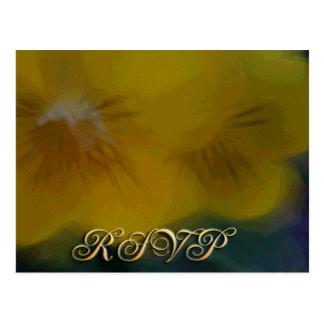 Gele bloem RSVP Briefkaart