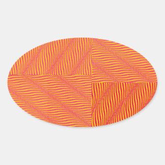Gele en Oranje Golven Ovaalvormige Stickers