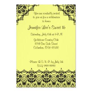 Gele en Zwarte Elegante Sweet16- Uitnodiging