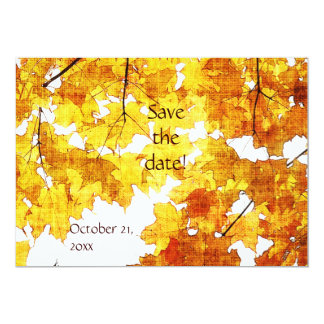 gele het huwelijksaankondiging van esdoornbladeren 12,7x17,8 uitnodiging kaart
