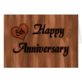 Gelukkig 5de Jubileum (huwelijksverjaardag) Wenskaart