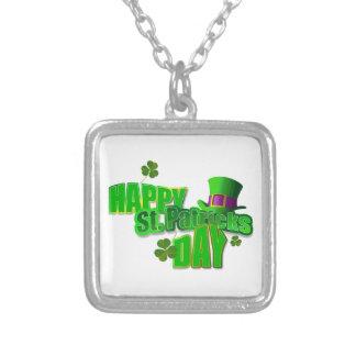 Gelukkige St. Patricks Dag Ketting Vierkant Hangertje
