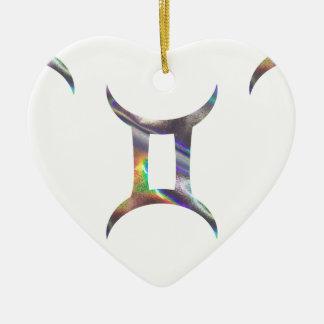 Gémeaux d'hologramme ornement cœur en céramique