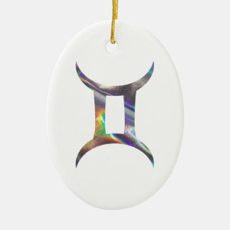 Gémeaux d'hologramme ornement ovale en céramique