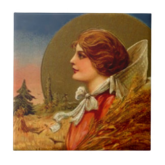 Générosité vintage de femme de pèlerin de récolte petit carreau carré
