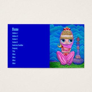 Génie rose et sa bouteille magique cartes de visite