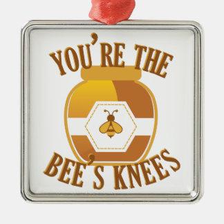 Genoux d'abeilles ornement carré argenté