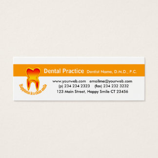 Gentil dentiste de dent mini carte de visite