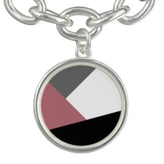geometrics rose, noir, gris poussiéreux clair bracelet avec breloques