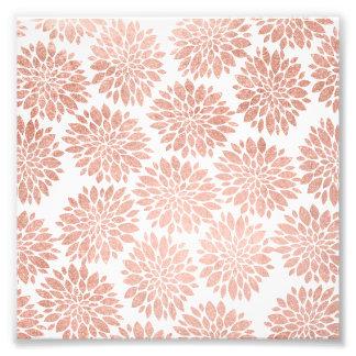 Géométrique abstrait floral girly d'or rose photo sur toile