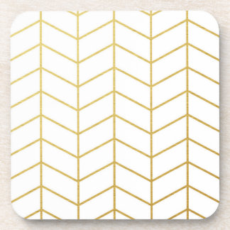Géométrique blanc de motif de feuille d'or en sous-bock