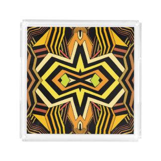 Géométrique noir et jaune moderne plateau en acrylique