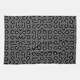 Géométrique pointu ethnique noir et blanc serviette pour les mains