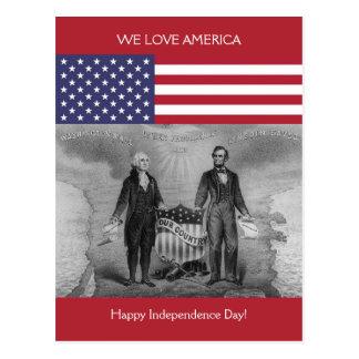 George Washington Abraham Lincoln Etats-Unis Carte Postale