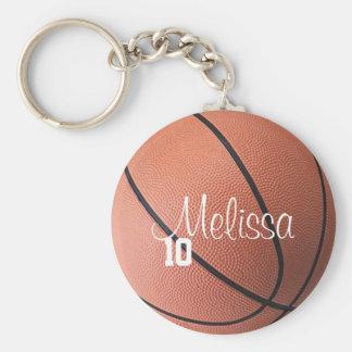 Gepersonaliseerd Basketbal Keychain Basic Ronde Button Sleutelhanger