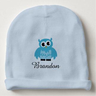Gepersonaliseerd blauw babypet met leuke uilvogel baby mutsje