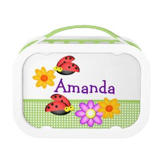 Gepersonaliseerde lieveheersbeestjes en Bloemen Lunchbox