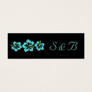 Geplaatst huwelijk - Hibiscus Blauwe Bloemen Mini Visitekaartjes