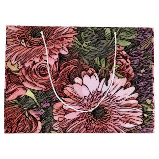 Gerbera et sac de cadeau modelé par bouquet rose