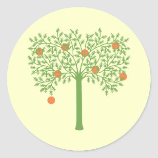 Gestileerde Oranje Boom Ronde Sticker