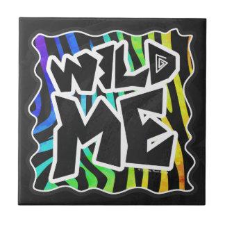 Gestreepte Wilde Zwarte en Regenboog me Keramisch Tegeltje