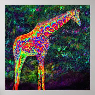 girafe au néon affiche