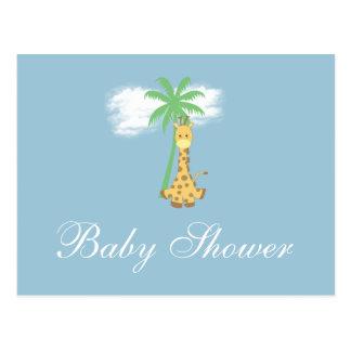 Girafe de baby shower aux invitations bleues