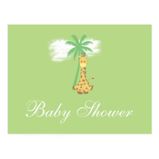 Girafe de baby shower aux invitations vertes