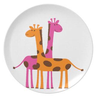 Girafe de bande dessinée assiettes en mélamine