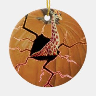 Girafe de citrouille ornement rond en céramique