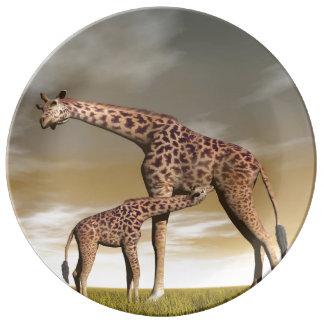 Girafe de maman et de bébé - 3D rendent Assiette En Porcelaine