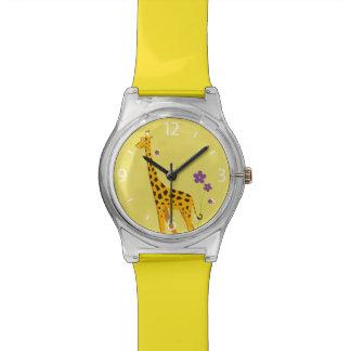Girafe drôle jaune de patinage de rouleau montres