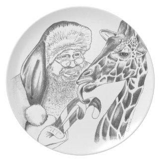 girafe et Père Noël de Noël Assiette