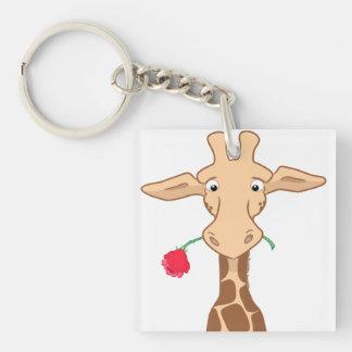 Girafe et porte - clé rose porte-clés