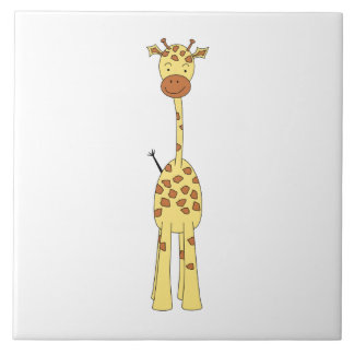 Girafe mignonne grande. Animal de bande dessinée Grand Carreau Carré