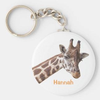 Girafe - porte - clé nommé personnalisé porte-clé rond
