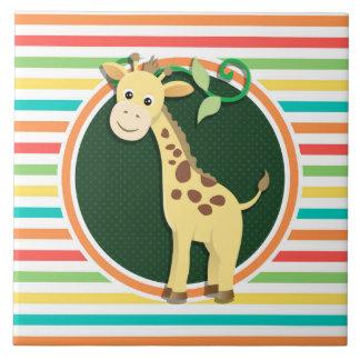 Girafe Rayures lumineuses d arc-en-ciel Carreaux En Céramique