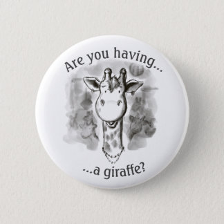 Girafe rimante d'argot de cockney drôle badge rond 5 cm