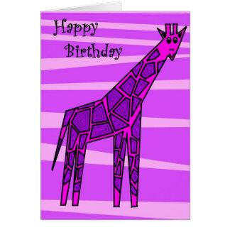 Girafe rose carte de vœux