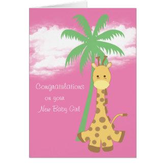Girafe rose de nouvelles félicitations de bébé carte de vœux