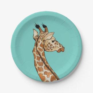 Girafe sur l'arrière - plan turquoise assiettes en papier