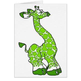 Girafe verte carte de vœux