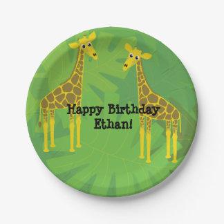 Girafes d'anniversaire de thème de safari assiettes en papier