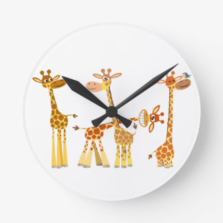 Girafes de bande dessinée : L'horloge murale de