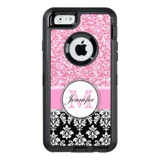 Girly, rose, scintillent la damassé noire coque OtterBox iPhone 6/6s