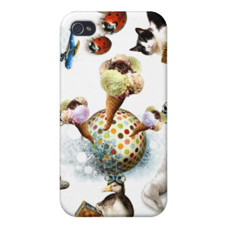 Glace/animaux mignons coque iPhone 4/4S