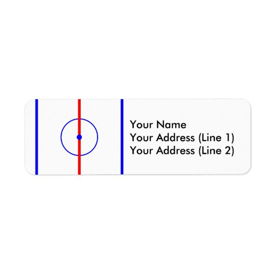 Glace de centre d'hockey et lignes bleues étiquette d'adresse retour