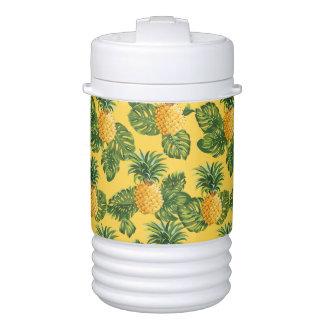 Glacière Pour Boisson Ananas et feuille tropical sur l'or