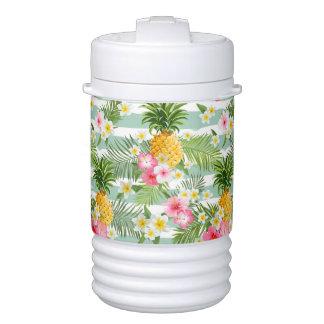 Glacière Pour Boisson Fleurs et ananas tropicaux sur les rayures