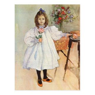 Gladys tenant un rose s'est levé cartes postales